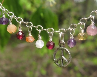 fatdog Necklace - N151 Gemstone and Sterling Silver Peace Sign Pendant