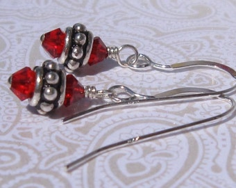 fatdog Earrings - EB203 Sterling Silver Bead and Swarovski Light Siam-Red Crystal
