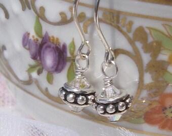 fatdog Earrings - EB108 Sterling Silver Bead and Swarovski Clear Crystal AB