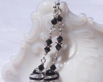 fatdog Earrings - ED110 Black and Clear Swirl Glass Bead and Swarovski Crystal Dangles