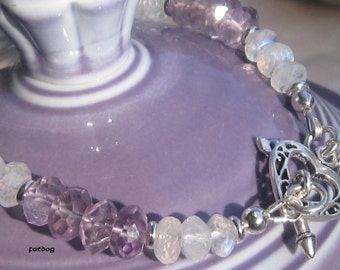 fatdog Bracelet - B1006 Lavender Ice 3 Amethyst and Moonstone
