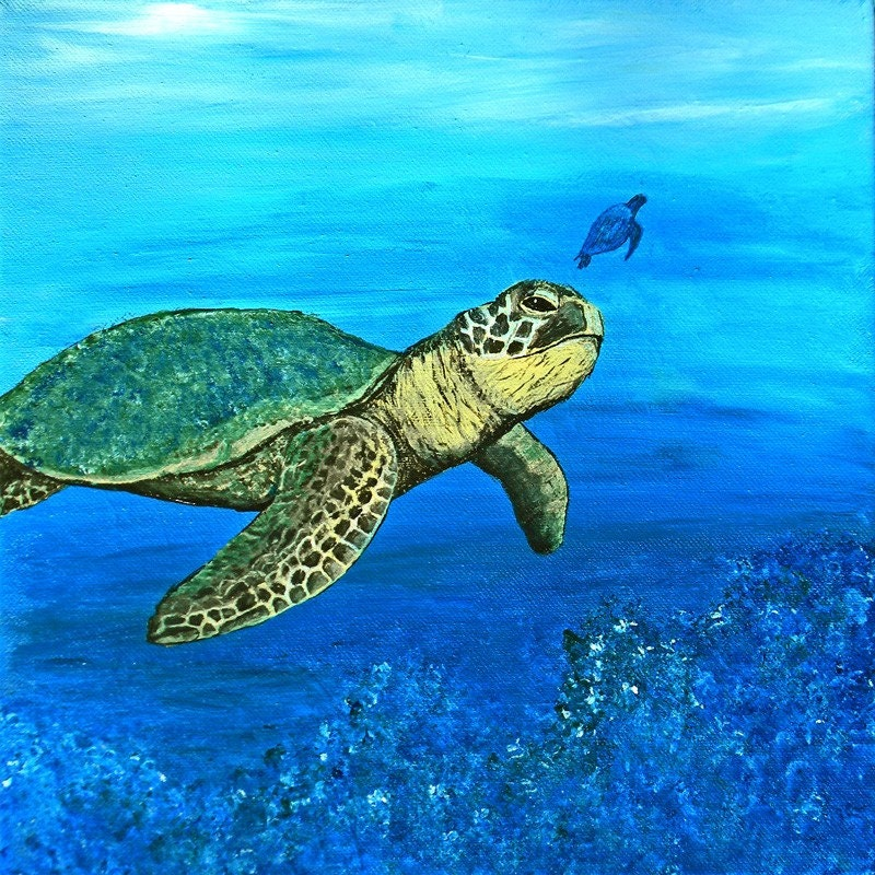 Sea turtle original painting for Turtle fish paint