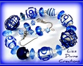 Navy Blue and Clear Glassworks Bracelet, On A Stretch Cord and Matching Earrings SALE Was 16.99 Now Only 10.99