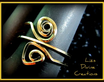 Gold Filled Wire Wrapped Adjustable Double Swirl Ring SALE Was 25.00 Now 15.00