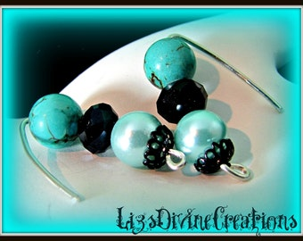 Turquoise, Black Crystal, and Aqua Pearl, Sterling Silver Pierced Earrings