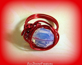 Valentines Red Wire Wrapped Opalite Ring OOAK Size 5, Pinkie Ring, Scarf Ring,Valentine Ring