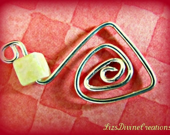 Sterling Silver and Peridot Jasper Focal Pendant SALE Was 12.00 Now Only 4.00