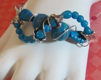 Turquoise Leaves and Turquoise Mountain Jade Silver Bar Bracelet Was 15.00 SALE 10.00