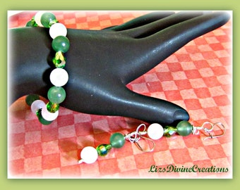 Snow Quartz and Green Aventurine and Crystal Stretch Semi-Precious Bracelet and Matching Earrings SALE Was 15.99 Now 10.99