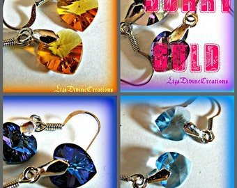 Crystal Heart Earrings One Pair You Pick the Color, Topaz AB, Deep Blue, or Aquamarine SALE. 9.99