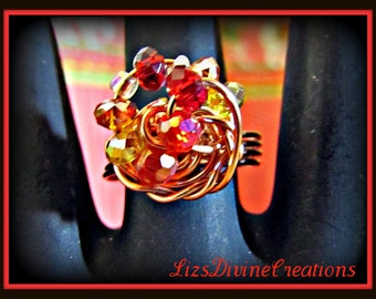 Red, Orange, Yellow Czech Crystal Swirl Cocktail Copper Wire Wrapped Ring OOAK Size 8