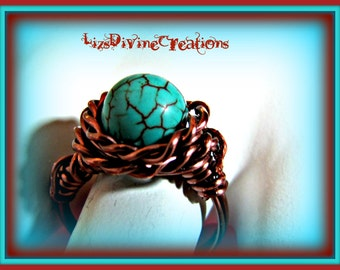 Turquoise Antiqued Copper Wire Wrapped Ring