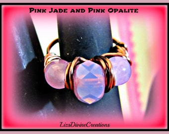 Pink Jade and Pink Oplalite Antiqued Copper Ring