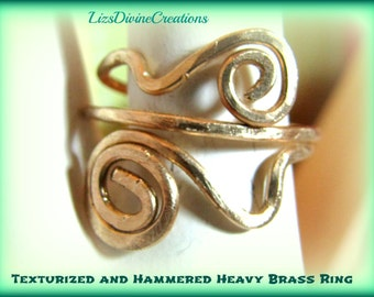 Hammered and Texturized Brass or Copper Double Swirl Adjustable Ring