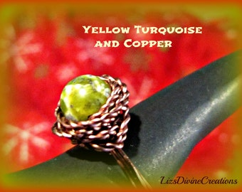 Yellow Turquoise Antiqued Copper,Copper,or SilverFilled Wire Wrapped Ring