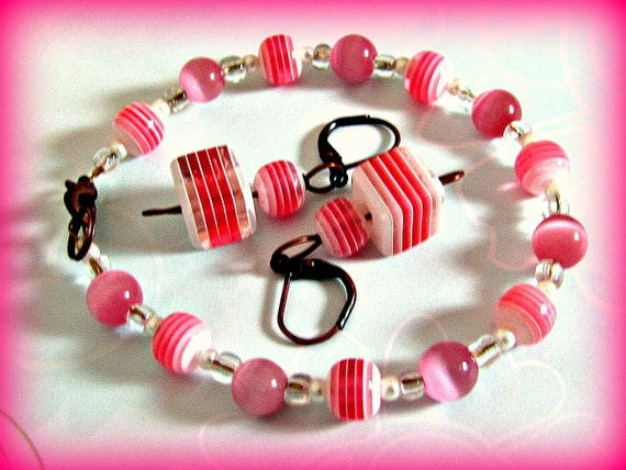 Shades of Pink Striped Cubes and Balls Bracelet And Earring Set SALE Was 15.00 Now 7.99