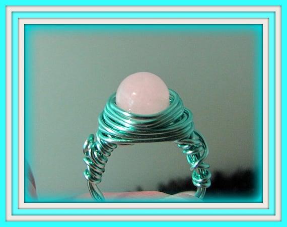 Sea Green Wire Wrapped Snow Quartz  Ring
