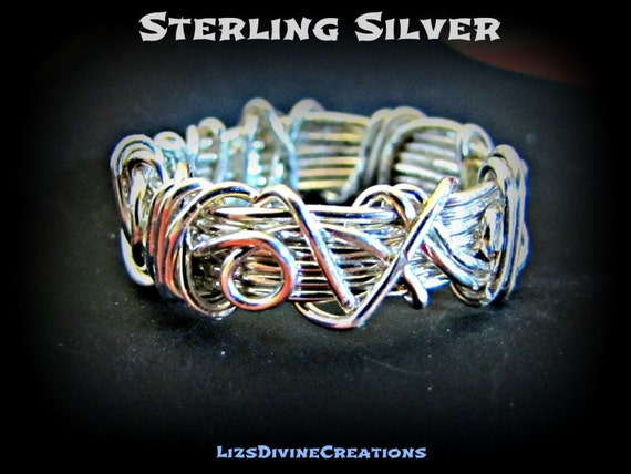 Wire Wrapped Wide Sterling Silver Ring Band With Overlay In Sterling Silver in Sizes 3 through 8 in U.S. Size Scale