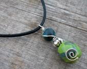 I V Y - African Kazuri Bead Pendant with Turquoise