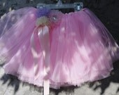 Pink tulle Baby tutu for Photo Prop Photo shoot tulle chiffon rosettes