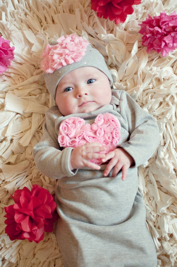 """Take me Home Newborn Gown from Our """"Baby Love"""" Collection in Heather Gray by Oh Baby Couture"""