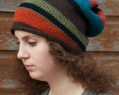 Knitted Oversized Slouchy Beanie, Multi Coloured knit hat, slouch hat, stripey hat, acrylic hat