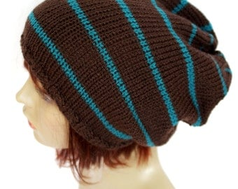 Hat, Knitted Oversized Slouchy Hat, Skater,Slouch ,Vegan, Dreads Hat, Beanie Brown and Teal