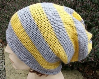Knitted Oversized Slouchy Beanie Heads Yellow Gray Stripey
