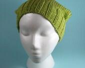 Hand Knit Spring Green Cotton Rosie Hat