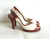 sz 7 vintage 1940s slingback spectator peep toe shoes Mortinique custom made inbrown and white leather