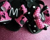 Pink Minnie Mouse Disney Script Font Monogram Initial Boutique Style Bow Ribbon Flip Flops