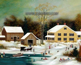 Limited Edition Folk Art Print - Winter on Nantucket