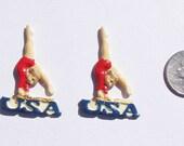 8 Handpainted Flat Back  Resin Cabochon Gymnastics Olympics
