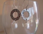 Hammered Silver and Pearl Earrings by Gypsyjanes on Etsy