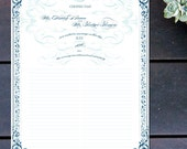 "Custom Marriage Certificate with Vintage Swirls - 16"" x 12"""