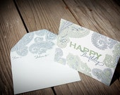Paisley Happy Birthday Letterpress Greeting Card