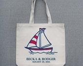 Sailboat Large Custom Durable Tote Bag