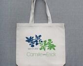 Decorative Floral Large Custom Tote Bag