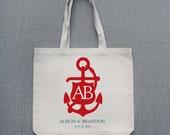Large Anchor Monogram Tote Bag