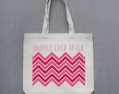 Happily Ever After Chevron Cotton Tote Bag