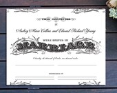 Vintage Typography Custom Marriage Certificate 13 x 10