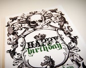 Skull Birthday Card Flat Printed Greeting Card