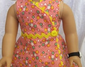 Feedsack Print 1930s Style Wrap Dress with Yellow Rickrack Fits American Girl Kit Ruthie