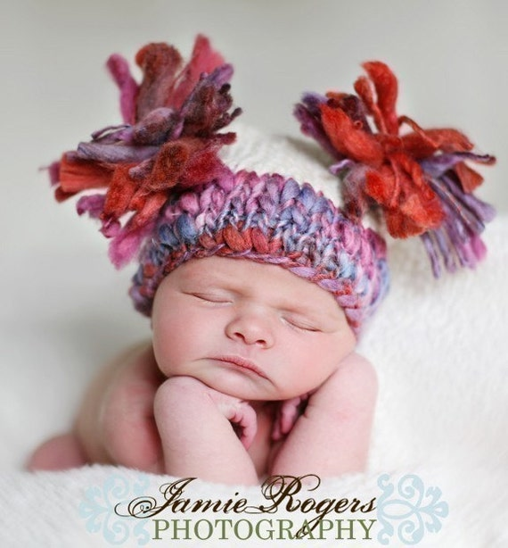 Knit Newborn girl square double tassell hat in FLORA. Newborn photo prop.