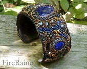 Embroidered Lapis Lazuli Cuff
