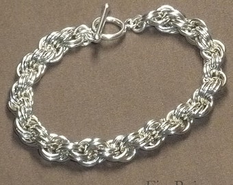 Chainmaille Bracelet Sterling Silver Double Spiral 4 in 1