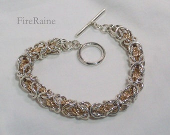 Silver and 14kt Gold-filled Byzantine Bracelet