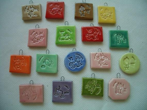 ZODIAC Ceramic Mosaic Tile Pendants - YOUR Choice of ONE
