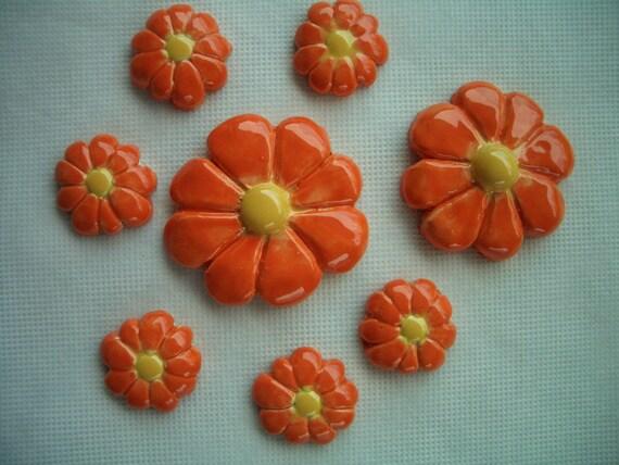 8 pc ORANGE FLOWERS Set - Ceramic Mosaic Tiles