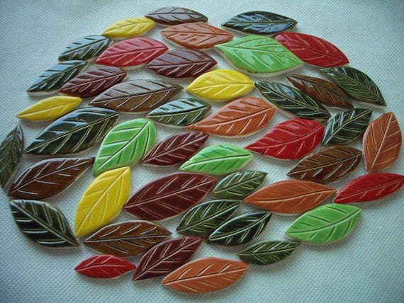 42K - 42 pc Multicolored Leaves - Ceramic Mosaic Tiles